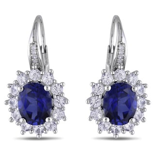 Miadora Silver Created Blue and White Sapphire and Diamond Accent Earrings with Bonus Earrings