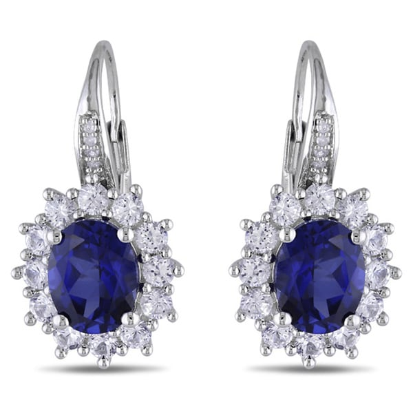 Miadora Silver Created Blue and White Sapphire and Diamond Accent Leverback Halo Drop Earrings