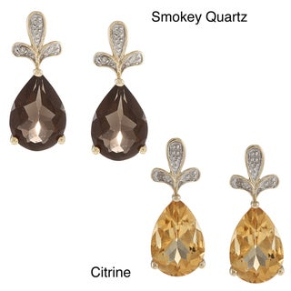 Viducci 10k Yellow Gold Gemstone and Diamond Earrings