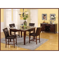 Radian Faux Marble 5-piece Bartable Set with Brown Barstools