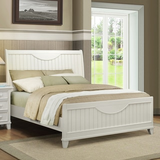 Tribecca Home Alderson Cottage White Beadboard Crescent Shaped Queen-size Bed