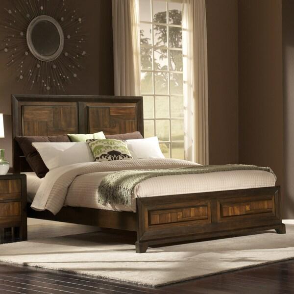 Birken Asymmetric Walnut Retro Modern Twin-size Low Profile Bed