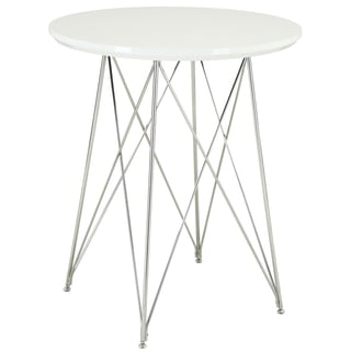 Glossy White/ Chrome 36-inch Bar Table