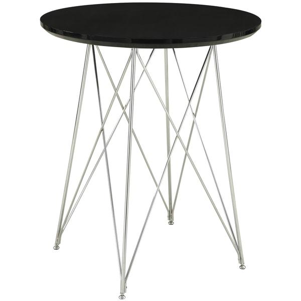 Glossy Black/ Chrome 36-inch Bar Table