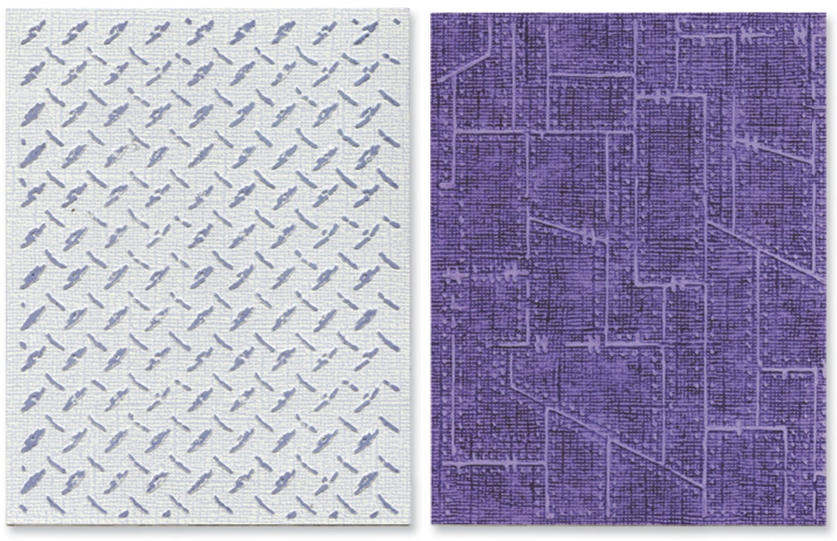 Sizzix Texture Fades Embossing Folders By Tim Holtz 2/Pkg-Diamond Plate & Riveted Metal