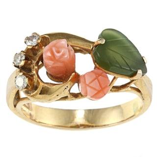 14k Yellow Gold 1/10ct TDW Pink Coral Rose Ring (I-J, SI1-SI2)