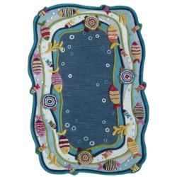 nuLOOM Hand-carved Kids Aqua Fish and Bubbles Blue Wool Rug (5' x 8')