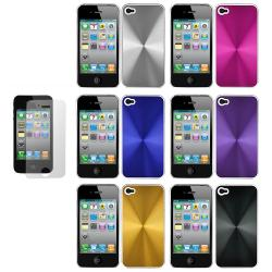Aluminum CD Apple iPhone 4 Grain Plated Case with Screen Guard