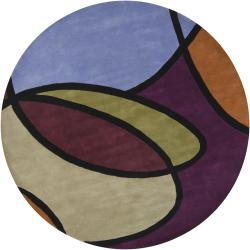 "Hand-Tufted Mandara Multicolor Geometric-Pattern New-Zealand-Wool Rug (7'9"" Round)"