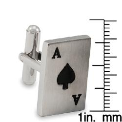 West Coast Jewelry Stainless Steel and Black Resin Ace of Spades Card Cuff Links