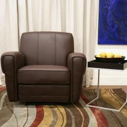 Atticus Modern Dark Brown Faux Leather Recliner