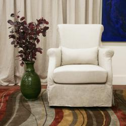 Carradine Beige Linen Slipcover Modern Club Chair