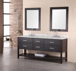 Design Element Jasper Modern Double Bathroom Marble Vanity Cabinet- with faucet