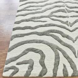 Handmade Alexa Animal Pattern Grey Zebra Wool Viscose Rug