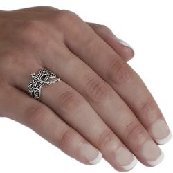 Tressa Sterling Silver Created Marcasite Dragonfly Ring
