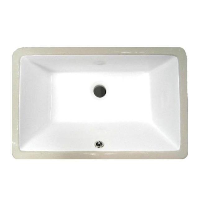 DeNovo Small White Rectangular Undermount Porcelain Bathroom Sink