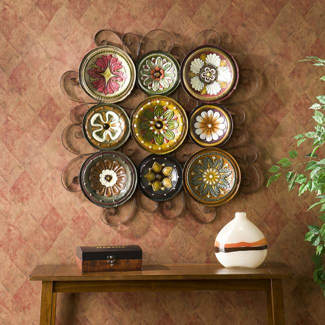 Italian Outdoor Wall Decor : Bologna grid piece italian plates wall art set