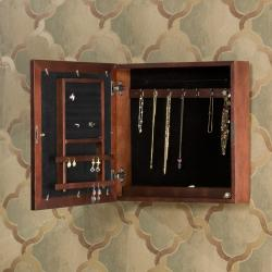Easton Cherry Wall Mount Jewelry Armoire
