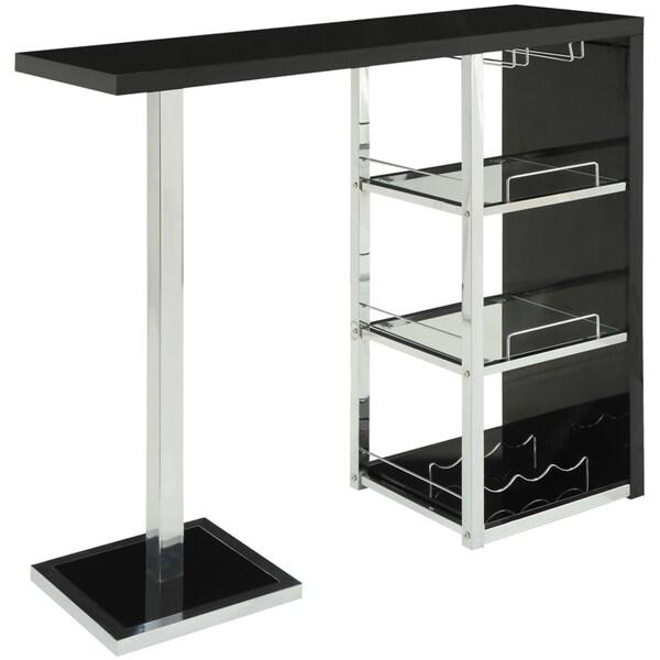 Glossy Black/ Chrome/ Glass 3-shelf Bar Table
