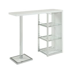 Glossy White/ Chrome/ Glass 3-shelf Bar Table