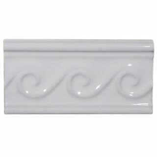 SomerTile 3x5 7/8-inch Travessa Olas Blanco Ceramic Trim Tile (Pack of 8)