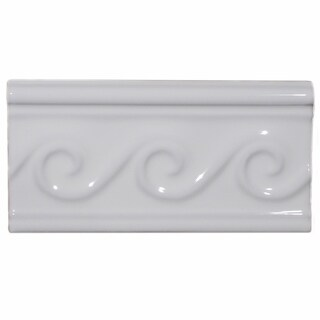 SomerTile 3x5-inch Travessa Olas Blanco Ceramic Trim Tile (Pack of 8)