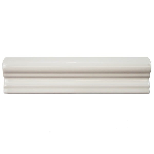 SomerTile 2x8-inch Travessa Biselada Blanco Ceramic Moldura Trim Tile (Pack of 6)