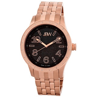 JBW Men's 'Pantheon' Diamond Rose Gold Bezel Black Dial Watch