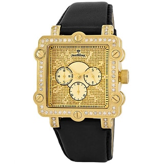 JBW Men's 'Mason' Square Chronograph Gold Diamond Leather Band Watch