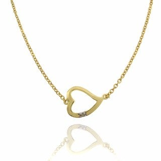 Finesque 18k Gold over Sterling Silver Diamond Accent Heart Necklace