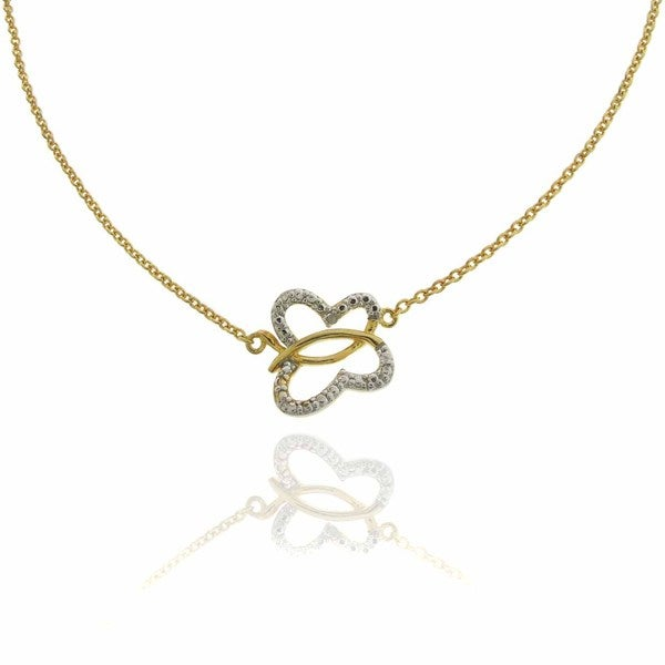 Finesque 18k Gold over Sterling Silver Diamond Accent Butterfly Necklace