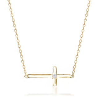 Sterling Silver Diamond Accent High Polish Cross 16.5-inch Necklace
