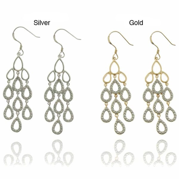 Finesque Sterling Silver Diamond Accent Teardrop Chandelier Earrings