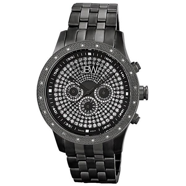 JBW Men's 'Coliseum' Diamond Black Bezel and Multi-Function Dial Watch