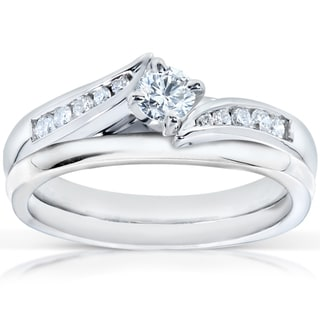 Annello  14k White Gold 1/3ct TDW Diamond Bridal Rings Set (H-I, I1-I2)