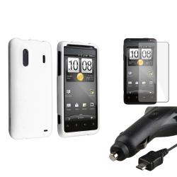 White Case/ LCD Protector/ Car Charger for HTC EVO Design 4G/ Hero S