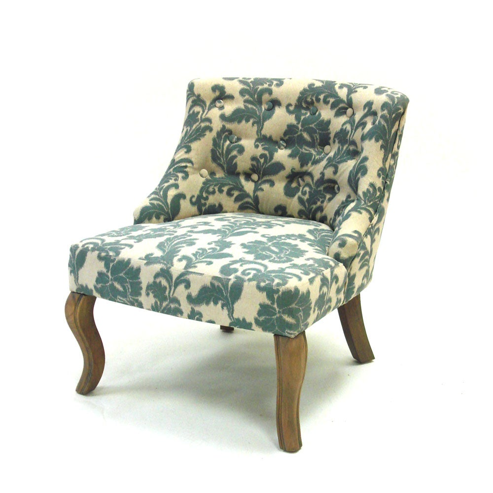 blue off white fabric accent chair furniture home living seat room bed