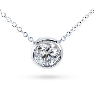 Annello by Kobelli 14k Gold 1/3ct TDW Natural Diamond Solitaire Bezel Necklace