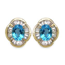 Malaika Gold over Silver 7 2/5ct TGW Blue and White Topaz Earrings