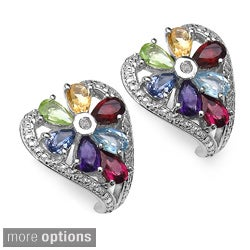 Malaika Sterling Silver 3 1/10ct TGW Gemstone Earrings