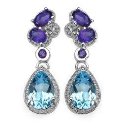 Malaika Sterling Silver 3 3/4ct TGW Blue Topaz and Amethyst Earrings