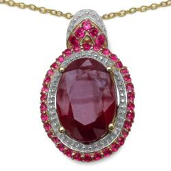Malaika Gold over Silver 8 7/8ct TGW Ruby and Created Ruby Necklace