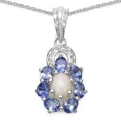 Malaika Sterling Silver 1 3/5ct TGW Opal and Tanzanite Necklace
