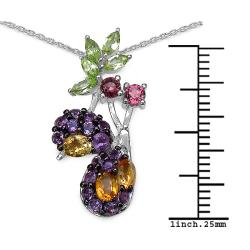 Malaika Silver 2 1/5ct TGW Citrine, Peridot, Rhodolite and Amethyst Necklace