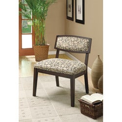Tan Swirl Fabric/ Cappuccino Accent Chair