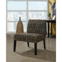 Tan/Brown Textured Brick Fabric Accent Chair