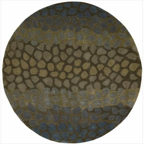 Nourison Hand-Tufted Dimensions Abstract Multicolor Rug (5'9 x 5'9) Round