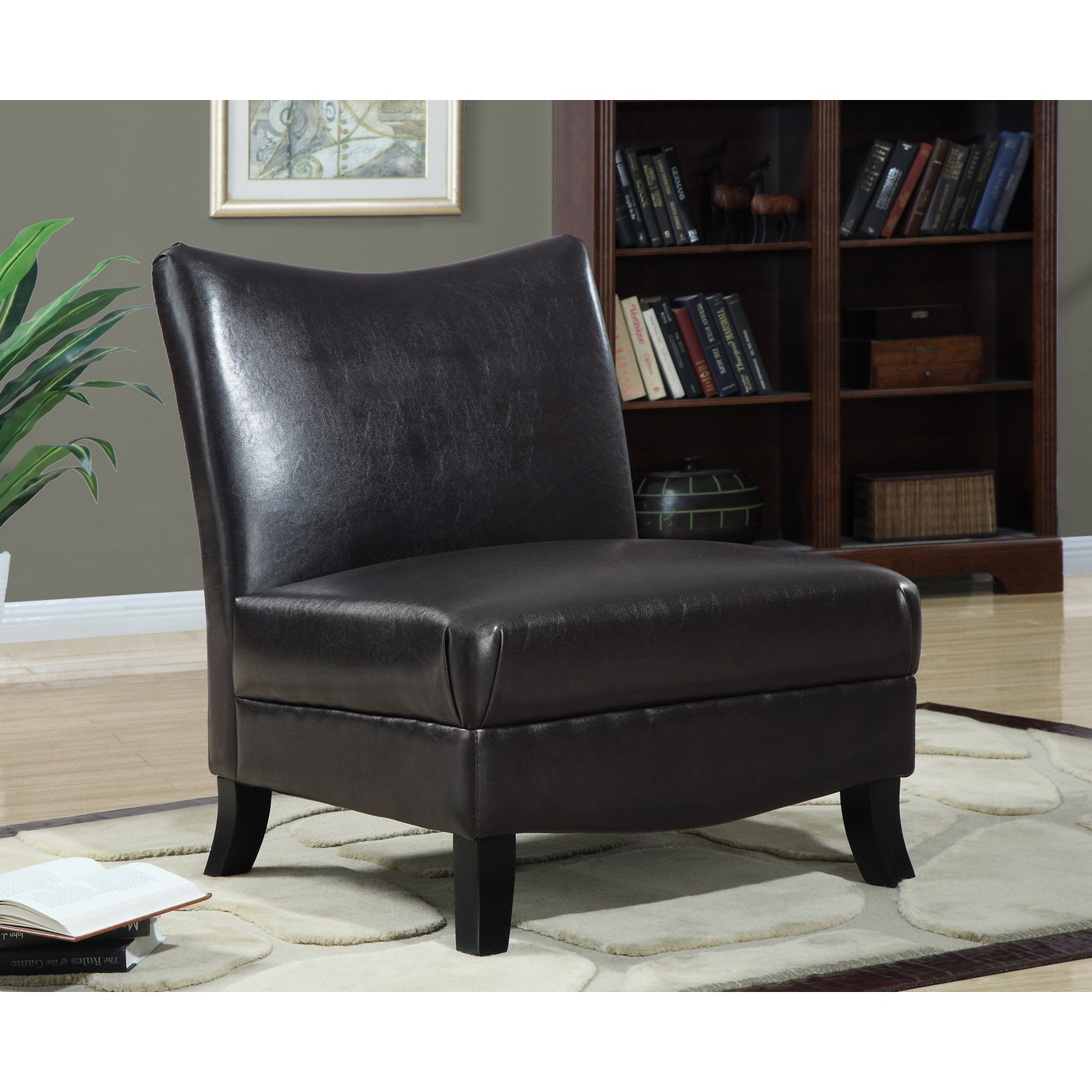 dark brown leather look accent chair 14338000