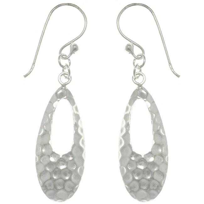 CGC Sterling Silver Hammered Teardrop Dangle Earrings