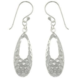 CGC Sterling Silver Hammered Teardrop Dangle Earrings